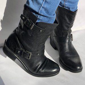 Franco Sarto 100% Black Leather Combat Boots